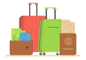 ensemble de voyage. valise de voyage, portefeuille avec argent, carte de crédit, passeport, billet d'avion. bagages touristiques, sacs de vacances ou de voyage et ensemble de vecteurs d'accessoires précis. vecteur