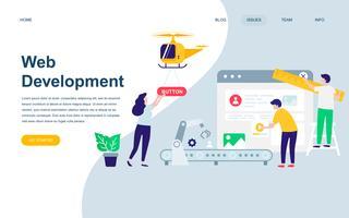Modèle de conception de page Web plat moderne de développement Web vecteur