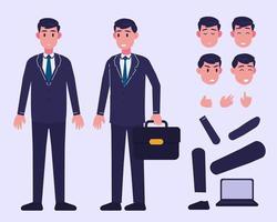 personnage d'homme d'affaires pour l'animation vecteur
