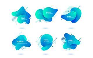 Bannières abstraites dégradés avec des formes liquides qui coule