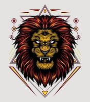 tête de lion de vecteur avec fond d'ornement. illustration du roi du lion pour la conception de chemises