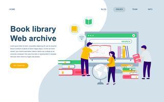 Modèle de conception de page web plat moderne de la bibliothèque de livres vecteur