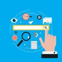 Mots-clés, processus de mots-clés de référencement, recherche de mots-clés, optimisation des mots-clés illustration vectorielle plane. Conception de bannières et d'applications Web