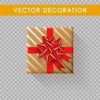 Vue de dessus de boîte cadeau réaliste. Coffrets cadeaux sans fond. Illustration vectorielle vecteur