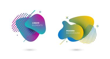 Bannières abstraites dégradés avec des formes liquides qui coule vecteur