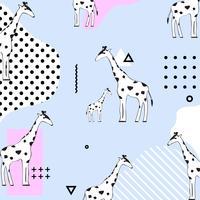 Trendy pasel girafe sans soudure de fond. Conception illustration vectorielle géométrique avec des girafes. Papier peint, tissu, textile, papier d'emballage vecteur