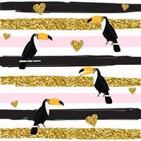 Modèle sans couture coeurs et toucans or scintillant sur illustration vectorielle fond rayé