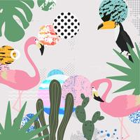 Jungle tropicale feuilles fond avec flamants roses et toucan
