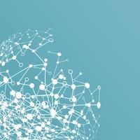 Abstrait polygonale avec points et lignes connectés, structure de connexion, hud futuriste, illustration vectorielle