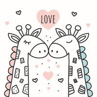 Vecteur de fond amour girafe