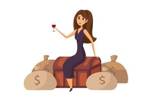 jeune femme d'affaires riche souriante heureuse en personnage de dessin animé de gestionnaire de robe assis sur un coffre d'argent avec un verre de vin vecteur