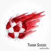 peinture à l'aquarelle réaliste d'une puissante équipe nationale de football tunisienne ou d'un coup de football. concept artistique et sportif. vecteur pour la coupe du tournoi de championnat du monde international 2018. conception plate.