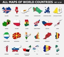 toutes les cartes des pays et des drapeaux du monde. ensemble 2 sur 10 . collection de forme de contour de carte de pays internationale avec ombre. conception plate. vecteur. vecteur