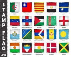 timbre avec le motif officiel du drapeau du pays et l'ancienne texture grunge et le nom du pays. forme carree . vecteur. ensemble 4 de 12 sur cette série. tous les drapeaux nationaux du monde. vecteur