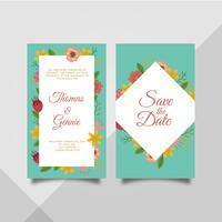 Modèle de carte d'invitation de mariage pour cadre de fleurs plates vecteur