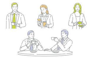 Ensemble d'hommes d'affaires prenant une pause-café isolé sur fond blanc vecteur