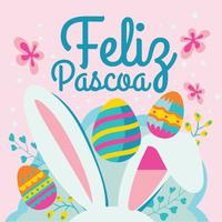 Jolie carte de voeux Feliz Pascoa avec oreilles de lapin de Pâques vecteur