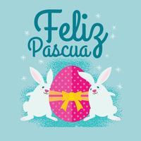 Jolie illustration de lapin de Pâques avec oeufs pour Feliz Pascua