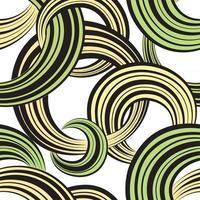 ligne de vague abstraite et modèle sans couture monochrome de boucles. fond ornemental ondulé de tourbillon de grille. texture de mouvement de flux chaotique. papier peint à bulles élégant et géométrique dans le style des années 1960 vecteur