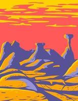 champignon vénéneux au grand escalier-escalante national monument situé dans le sud de l'utah états-unis wpa poster art vecteur