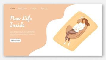 nouvelle vie à l'intérieur du modèle vectoriel de page de destination. idée d'interface de site Web de produits de maternité avec des illustrations plates. mise en page d'accueil pour un sommeil sain. bannière web d'oreiller de grossesse, concept de dessin animé de page Web