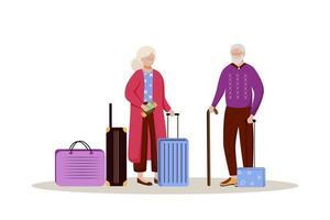 couple de personnes âgées avec illustration vectorielle plane de bagages. se préparer pour un voyage. couple marié avec des valises. partir en vacances. personnage de dessin animé isolé préparation voyage sur fond blanc vecteur