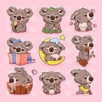Jeu de caractères de vecteur de dessin animé mignon koala kawaii. animal souriant adorable et drôle mangeant, eucalyptus, dormant, exécutant des autocollants isolés, pack de patchs. anime bébé koala avec maman sur fond rose