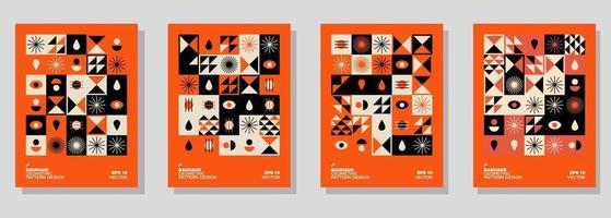ensemble d'illustration de fond géométrique abstrait bauhaus, design plat de formes géométriques murales colorées vecteur