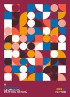 illustration de fond géométrique abstrait bauhaus, design plat de formes géométriques murales colorées vecteur