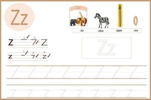 apprendre la feuille de travail de la lettre z vecteur