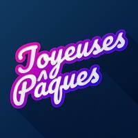 Carte de voeux de joyeuses Pâques calligraphie française vecteur
