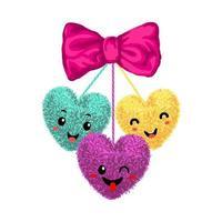 illustration vectorielle colorée d'éléments décoratifs avec des pompons en forme de coeur suspendu aux cordes avec un arc isolé sur fond blanc. décor pour la conception de la Saint-Valentin. vecteur
