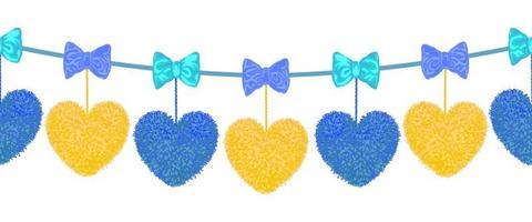 Vector motif transparent coloré d'élément décoratif avec des coeurs de pompons accrochés aux cordes et aux arcs comme guirlande isolé sur fond blanc. décor pour la Saint-Valentin ou la conception de douche de bébé.