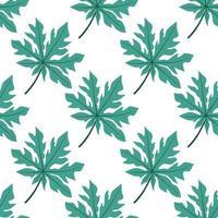 modèle sans couture de feuilles de papaye tropicale vecteur