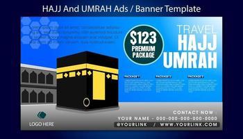 modèle de bannière hajj et umrah avec fond bleu ciel vecteur