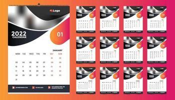 conception de modèle de calendrier mural mensuel pour 2022, année. la semaine commence le dimanche. agenda avec place pour la photo. vecteur