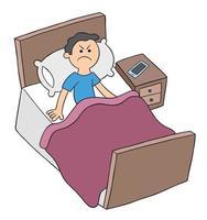 l'homme de la bande dessinée est au lit mais en colère, ne peut pas dormir, illustration vectorielle vecteur