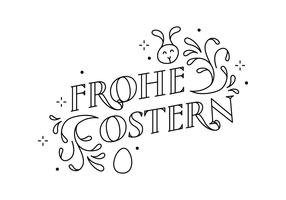 Typographie Frohe Ostern Swirl vecteur
