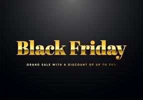 Black Friday lettres d'or vector illustration