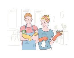 couple portant des gants en caoutchouc et tenant des éponges et posant. les deux faces sont sales. illustrations de conception de vecteur de style dessinés à la main.
