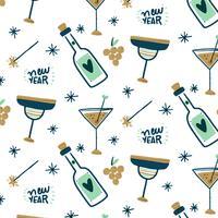 Motif Bonne année avec champagne, tasses et cierges magiques vecteur