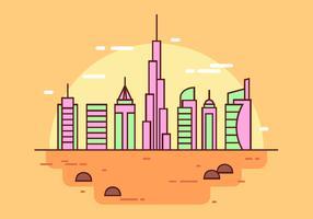Vecteur de paysage simple de Dubaï