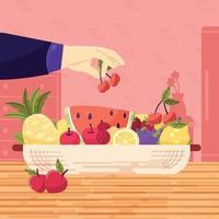 le chef prépare un dessert aux fruits dans un bol vecteur