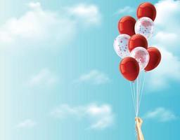main de fille tenant des ballons multicolores fait avec un effet de filtre instagram rétro vintage, concept de joyeux anniversaire en été et fête de lune de miel de mariage. vecteur eps 10