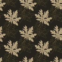 feuilles de papaye modèle sans couture sur fond noir vecteur