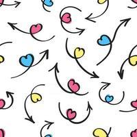 modèle sans couture dessiné à la main avec des flèches d'amour avec des coeurs roses sur l'ensemble d'illustrations vectorielles de conception de style plat de flèches isolé sur fond blanc. concept de modèle de saint valentin vecteur