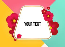 Zone de texte avec de belles fleurs colorées. Illustration vectorielle
