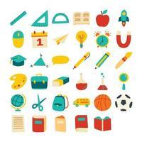 retour à l'école jeu d'icônes style de couleur plat. objets et symboles dessinés à la main de l'éducation. vecteur
