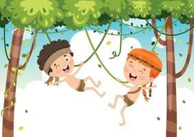 enfants heureux se balançant avec une corde de racine dans la jungle vecteur