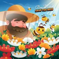 genre d'abeille sauve le concept des abeilles vecteur